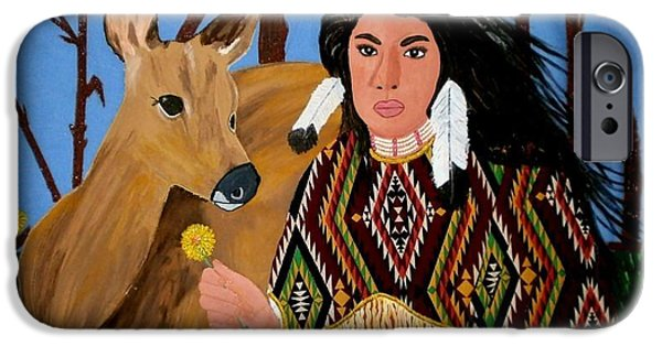One Tapestries - Textiles iPhone Cases - Squaw with Deer iPhone Case by Linda Egland