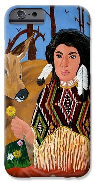 Squaw with Deer iPhone Case by Linda Egland