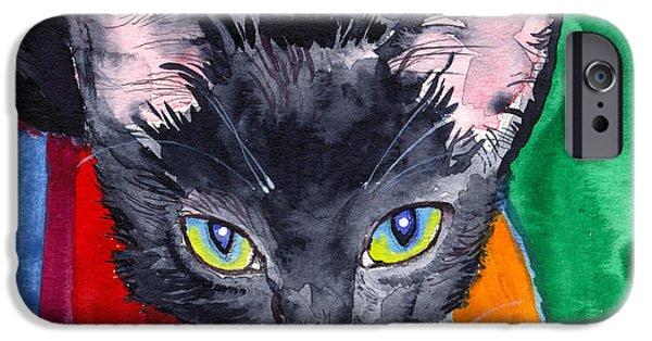 John Stewart iPhone Cases - Squeak The Wonder Cat iPhone Case by John Norman Stewart