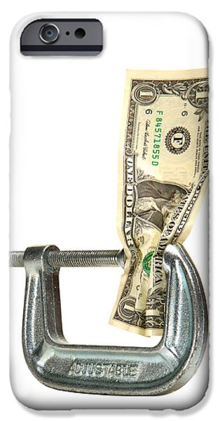 Finance iPhone Cases - Squeezing the Dollar iPhone Case by Olivier Le Queinec