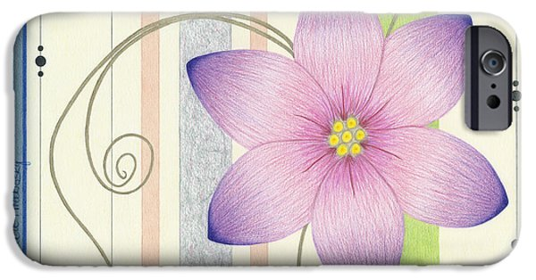 Flora Drawings iPhone Cases - Squigglies and Stripes iPhone Case by Diana Hrabosky