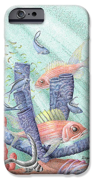 Flora Drawings iPhone Cases - Squirrel Fish Reef iPhone Case by Wayne Hardee