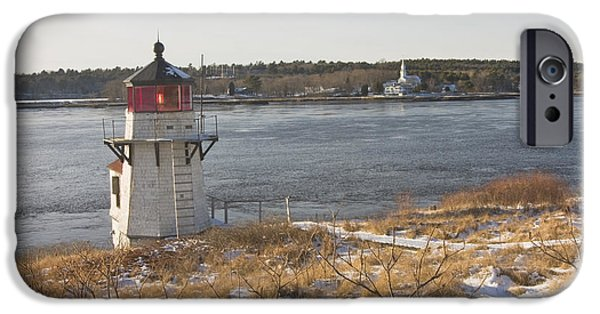 Winter Weather iPhone Cases - Squirrel Point Lighthouse Kennebec River Maine iPhone Case by Keith Webber Jr