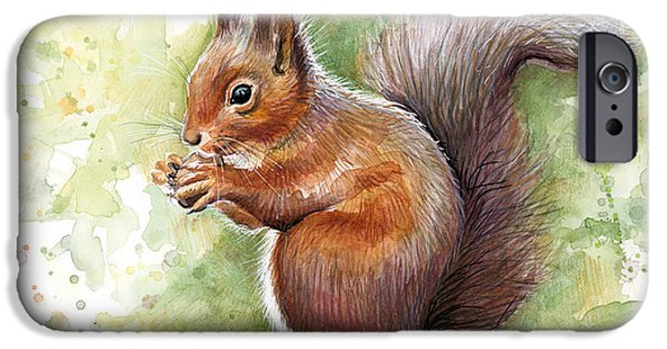 Animal Portraits iPhone Cases - Squirrel Watercolor Art iPhone Case by Olga Shvartsur