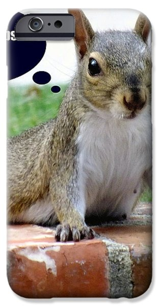 Squirrely Push Ups iPhone Case by KAREN WILES