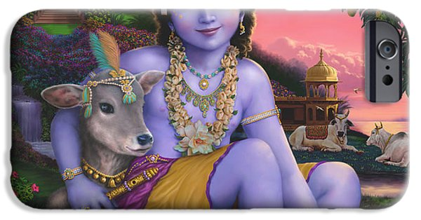 Recently Sold -  - Hindu Goddess iPhone Cases - Sri Krishnachandra iPhone Case by Vishnudas Art