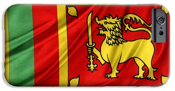 Textile Photographs iPhone Cases - Sri Lankan flag iPhone Case by Les Cunliffe