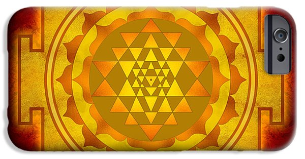 Hinduism iPhone Cases - Sri Yantra iPhone Case by Dirk Czarnota
