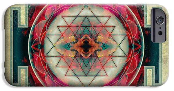 Flower Of Life Digital Art iPhone Cases - Sri Yantra  iPhone Case by Filippo B