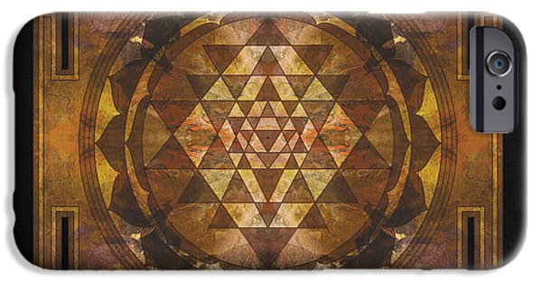 Buddhism iPhone Cases - Sri yantra gold iPhone Case by Filippo B