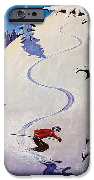 Skiing Posters Paintings iPhone Cases - sSki by o4rsom iPhone Case by Tonia Williams