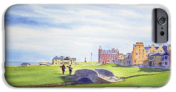 Professional Golf iPhone Cases - St Andrews Scotland 18th Fairway iPhone Case by Bill Holkham