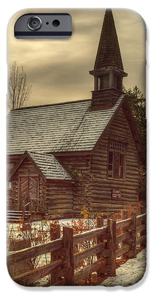 Headstones iPhone Cases - St Annes Church In Winter iPhone Case by Randy Hall