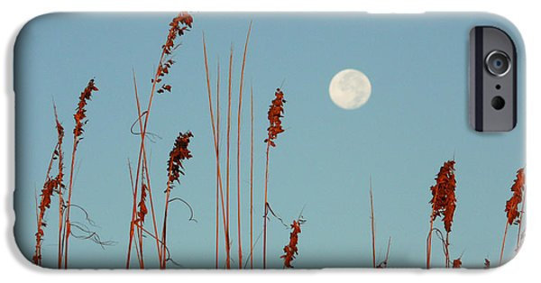 Sea Moon Full Moon iPhone Cases - St. Augustine Beach Moonrise iPhone Case by Phil King