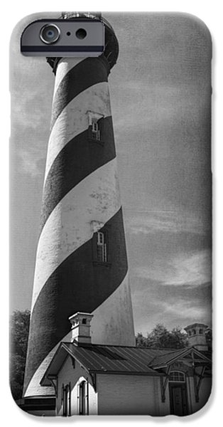 Building iPhone Cases - St Augustine Lighthouse BW iPhone Case by Joan Carroll