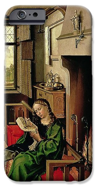 Psalm iPhone Cases - St. Barbara From The Right Wing Of The Werl Altarpiece, 1438 Oil On Panel See Also 68547 iPhone Case by Master of Flemalle