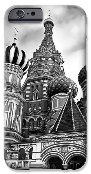 Moscow iPhone Cases - St Basils Cathedral in Moscow Russia Black and white iPhone Case by Oleksiy Maksymenko