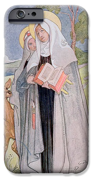 Visionary Paintings iPhone Cases - St Bridget of Sweden iPhone Case by Carl Larsson