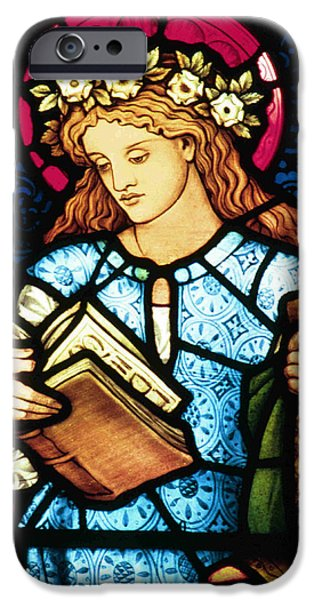 Vintage Glass iPhone Cases - St Catherine of Alexandria in Stained Glass iPhone Case by Philip Ralley