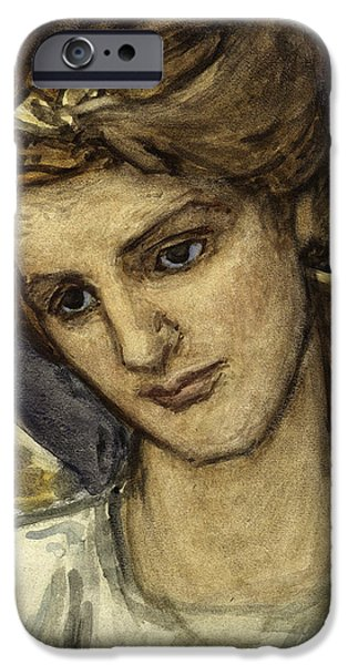 On Paper Paintings iPhone Cases - St Catherine iPhone Case by Thomas Matthews Rooke