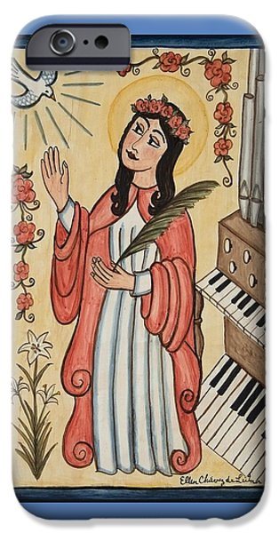 Cecilia iPhone Cases - St. Cecilia with organ and dove iPhone Case by Ellen Chavez de Leitner