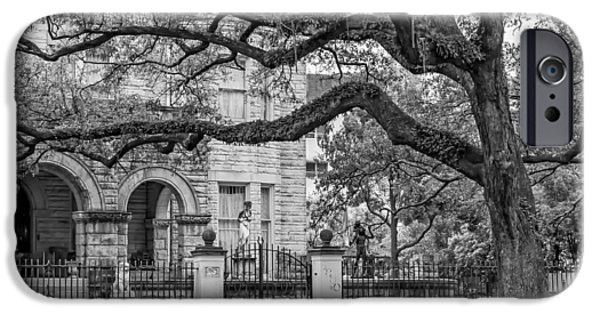 Rainy Day iPhone Cases - St. Charles Ave. Mansion 2 bw iPhone Case by Steve Harrington