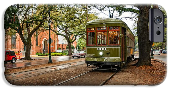Rainy Day iPhone Cases - St. Charles Ave. Streetcar in New Orleans iPhone Case by Kathleen K Parker