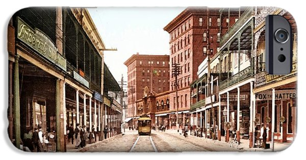 Horse And Buggy iPhone Cases - St Charles Street New Orleans 1900 iPhone Case by Unknown