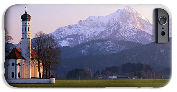 Snowy Evening iPhone Cases - St Coloman Church And Alps Schwangau iPhone Case by Panoramic Images
