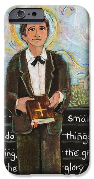 Young Paintings iPhone Cases - St Dominic Savio iPhone Case by Jen Norton