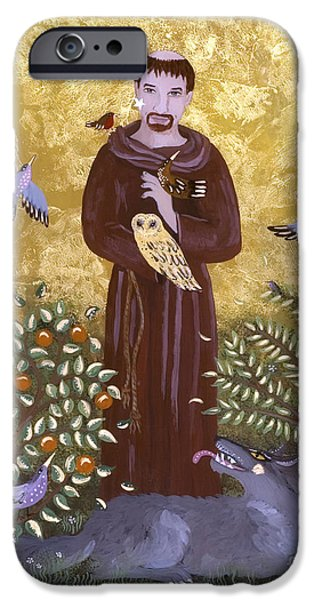 Reverse Art iPhone Cases - St. Francis and the Wolf iPhone Case by Sue Betanzos