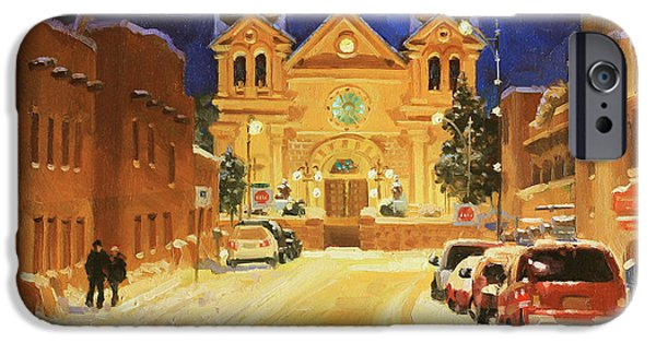 Rooftop iPhone Cases - St. Francis Cathedral Basilica  iPhone Case by Gary Kim