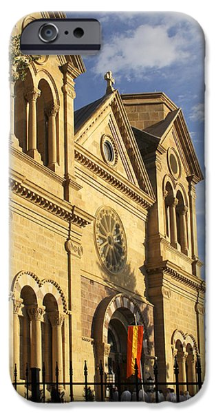 Sw New Mexico iPhone Cases - St. Francis Cathedral - Santa Fe iPhone Case by Mike McGlothlen