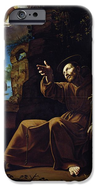 Chiaroscuro iPhone Cases - St. Francis Of Assisi Consoled By An Angel Musician Oil On Canvas iPhone Case by Italian School