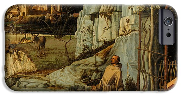 Nature Divine iPhone Cases - St Francis of Assisi in the Desert iPhone Case by Giovanni Bellini