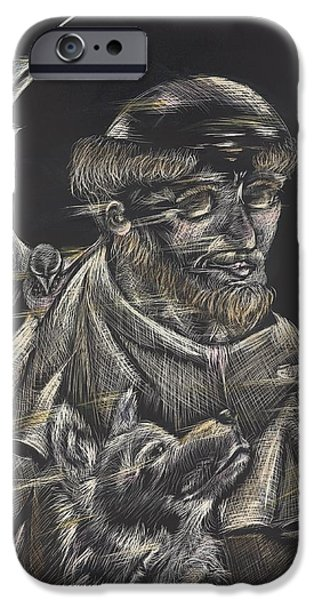 Michelle Drawings iPhone Cases - St. Francis of Assisi iPhone Case by Michelle Miller