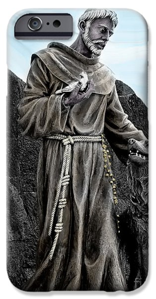 Wolf Photo iPhone Cases - St Francis Of Assisi On Isabela In The Galapagos iPhone Case by Al Bourassa