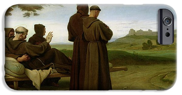 Italian Landscape iPhone Cases - St. Francis Of Assisi, While Being Carried To His Final Resting Place At Saint-marie-des-anges iPhone Case by Francois Leon Benouville