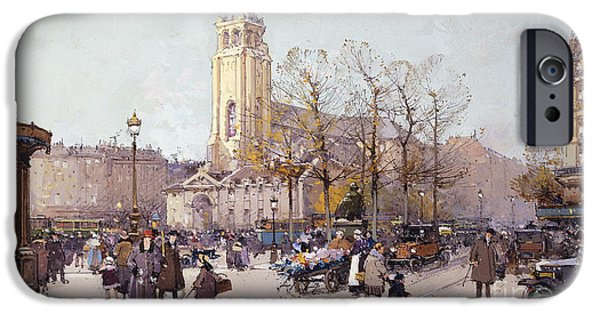 Jacques Lieven iPhone Cases - St. Germaine de Pres iPhone Case by Eugene Galien-Laloue