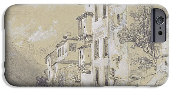 Landscapes Drawings iPhone Cases - St Giulio Orta iPhone Case by Edward Lear
