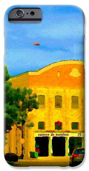 ST HENRI CITY HALL POSTE DE POLICE ET CASERNE DE POMPIERS MONTREAL CITY SCENE ART OF CAROLE SPANDAU iPhone Case by CAROLE SPANDAU