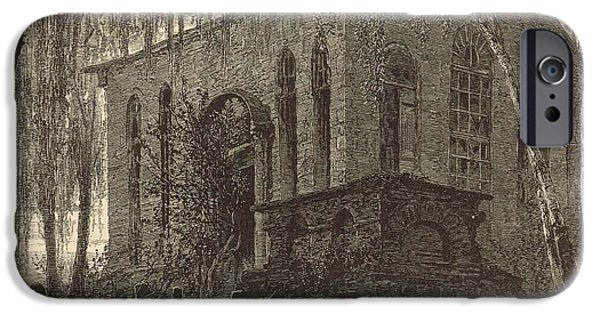 Headstones Drawings iPhone Cases - St. James Church or Goose Creek Church and Cemetery 1872 Engraving iPhone Case by Antique Engravings