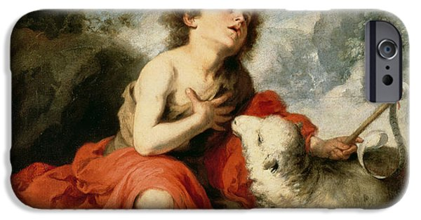 Enfants iPhone Cases - St. John The Baptist As A Child, C.1665 Oil On Canvas iPhone Case by Bartolome Esteban Murillo