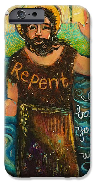 Baptism Paintings iPhone Cases - St. John the Baptist iPhone Case by Jen Norton