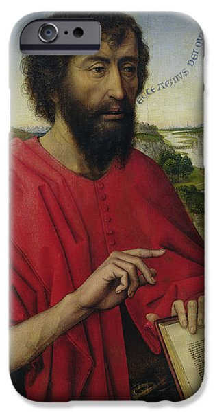 Jordan iPhone Cases - St. John The Baptist, Left Hand Panel Of The Triptych Of The Braque Family Oil On Panel iPhone Case by Rogier van der Weyden