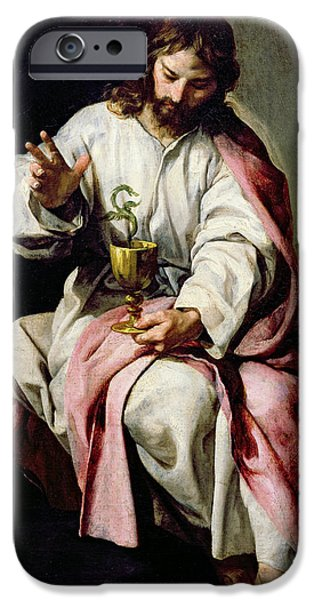 St John The Evangelist Paintings iPhone Cases - St. John the Evangelist and the Poisoned Cup iPhone Case by Alonso Cano