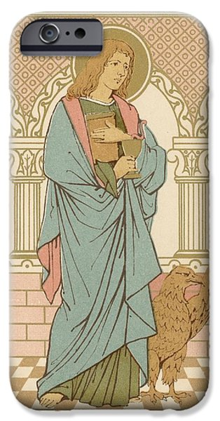 Robe Drawings iPhone Cases - St John the Evangelist iPhone Case by English School