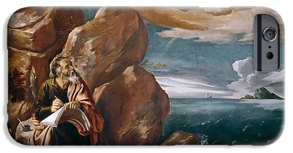 St John The Evangelist Paintings iPhone Cases - St John the Evangelist on Patmos iPhone Case by Pedro Orrente