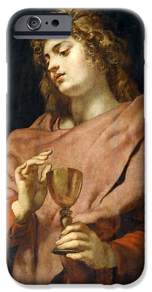 St John The Evangelist Paintings iPhone Cases - St John the Evangelist iPhone Case by Peter Paul Rubens