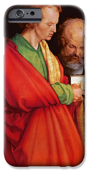 Evangelist iPhone Cases - St. John With St. Peter And St. Paul With St. Mark, 1526 Oil On Panel Detail Of 170205 iPhone Case by Albrecht Dürer or Duerer